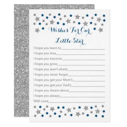 Cute Star Wishes For Baby Cards Navy & Silver