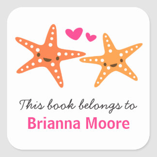 Cute starfish animal cartoon bookplate book square sticker