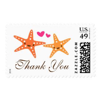 Cute starfish beach destination wedding thank you postage stamp