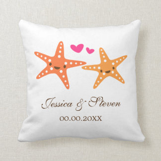 Cute starfish bride and groom wedding pillow