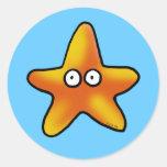 Cute starfish classic round sticker