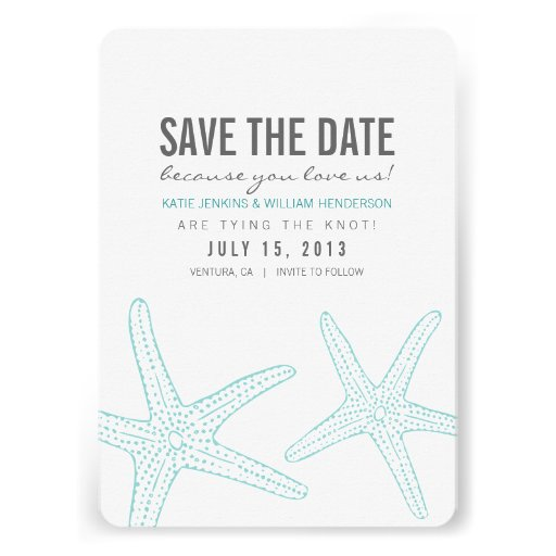 Cute Starfish Save the Date Card Custom Invitations