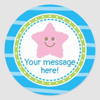 Cute Starfish Under the Sea Birthday Classic Round Sticker