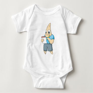 Professional Business Cute Starfish Writing on Notepad Baby Bodysuit