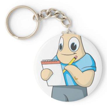 Professional Business Cute Starfish Writing on Notepad Keychain