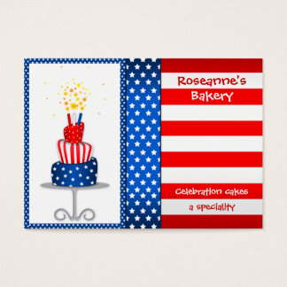 Cute Stars and Stripes Cake Bakery Business Card