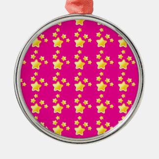 Cute stars on pink pattern metal ornament