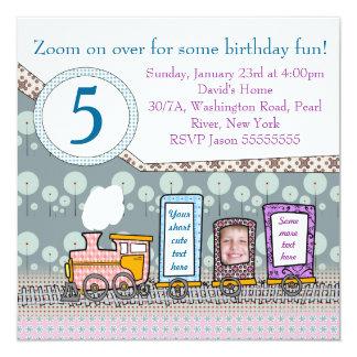 """Cute steam train birthday invitation card for boys 5.25"""" square invitation card"""