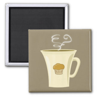Cute Steaming Coffee Mug Illustration Refrigerator Magnets