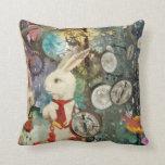 Cute steampunk Alice Wonderland white rabbit Throw Pillows