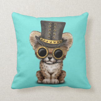 Cute Steampunk Baby Cheetah Cub Throw Pillow
