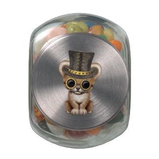 Cute Steampunk Baby Lion Cub Glass Jar