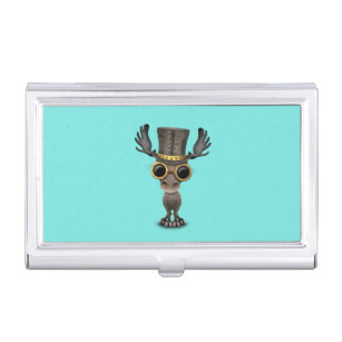 Moose business card holders cases zazzle cute steampunk baby moose business card holder colourmoves
