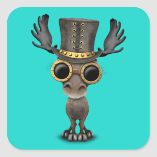 Cute Steampunk Baby Moose Square Sticker