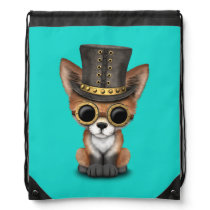 Cute Steampunk Baby Red Fox Drawstring Backpack