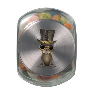 Cute Steampunk Baby Sea Lion Glass Candy Jars