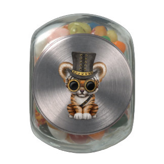 Cute Steampunk Baby Tiger Cub Jelly Belly Candy Jars