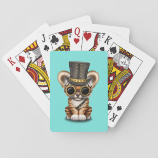 Cute Steampunk Baby Tiger Cub Playing Cards