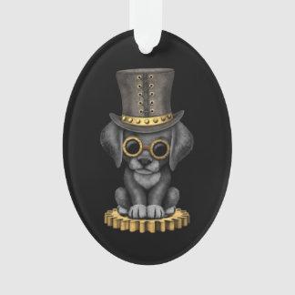 Cute Steampunk Black Lab Puppy Dog, black Ornament