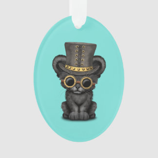 Cute Steampunk Black Panther Cub Ornament