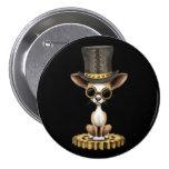 Cute Steampunk Chihuahua Puppy Dog, black Pinback Button
