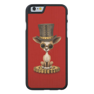 Cute Steampunk Chihuahua Puppy Dog, red Carved Maple iPhone 6 Case