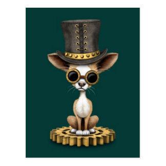 Cute Steampunk Chihuahua Puppy Dog, teal Postcard