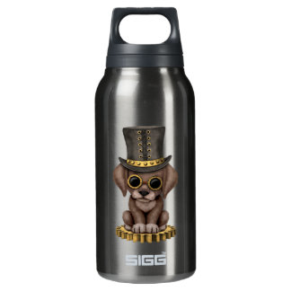 Cute Steampunk Chocolate Lab Puppy Dog Insulated Water Bottle