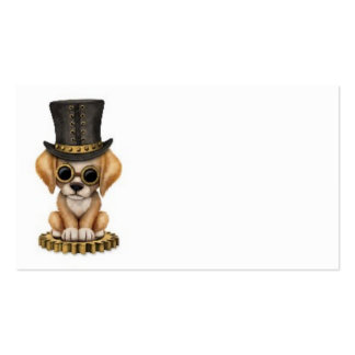 Cute Steampunk Chocolate Lab Puppy Dog, white Business Card