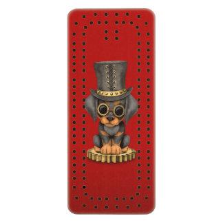 Cute Steampunk Doberman Pinscher Puppy Dog, red Cribbage Board