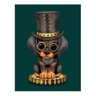 Cute Steampunk Doberman Pinscher Puppy Dog, teal Postcard