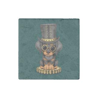 Cute Steampunk Doberman Pinscher Puppy Dog, teal Stone Magnet