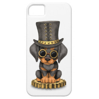 Cute Steampunk Doberman Pinscher Puppy Dog, white iPhone SE/5/5s Case