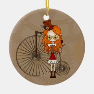 Cute Steampunk Girl and Penny Farthing Bicycle Ceramic Ornament