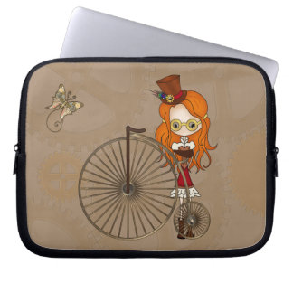 Cute Steampunk Girl and Penny Farthing Bicycle Computer Sleeve