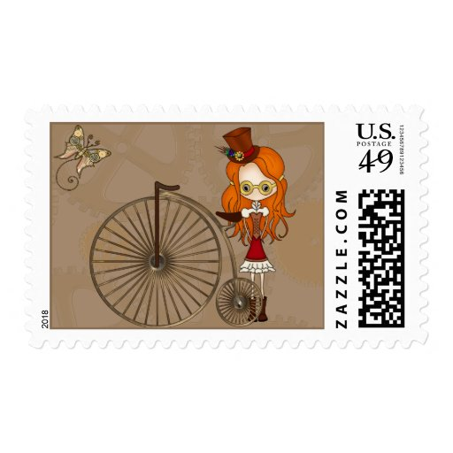 Cute Steampunk Girl and Penny Farthing Bicycle Postage