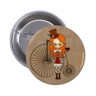 Cute Steampunk Girl & Penny Farthing Bicycle Button