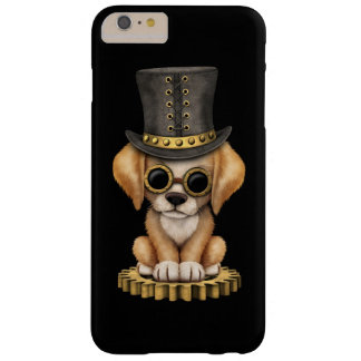 Cute Steampunk Golden Retriever Puppy Dog, black Barely There iPhone 6 Plus Case