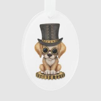 Cute Steampunk Golden Retriever Puppy Dog, white Ornament