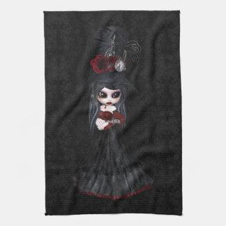 Cute Steampunk Goth Girl Black Kitchen Towel