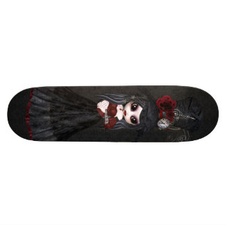 Cute Steampunk Goth Girl Black Skateboard