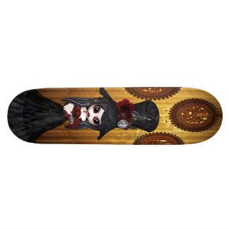 Cute Steampunk Goth Girl & Cog Clocks Skateboard