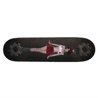 Cute Steampunk Goth Girl & Gears Black Skateboard