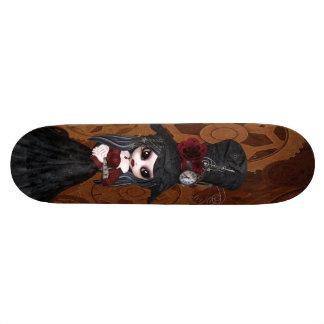 Cute Steampunk Goth Girl Gears Skateboard