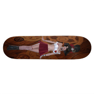 Cute Steampunk Goth Girl & Gears Skateboard