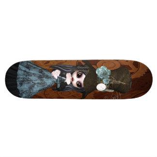 Cute Steampunk Goth Girl & Gears Skateboard