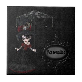 Cute Steampunk Goth Girl Personalized Black Tile