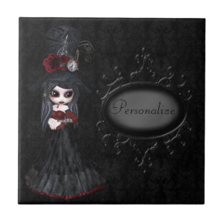 Cute Steampunk Goth Girl Personalized Tile