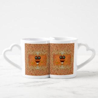 Cute steampunk owl coffee mug set