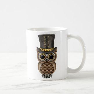 Cute Steampunk Owl on a Branch Classic White Coffee Mug